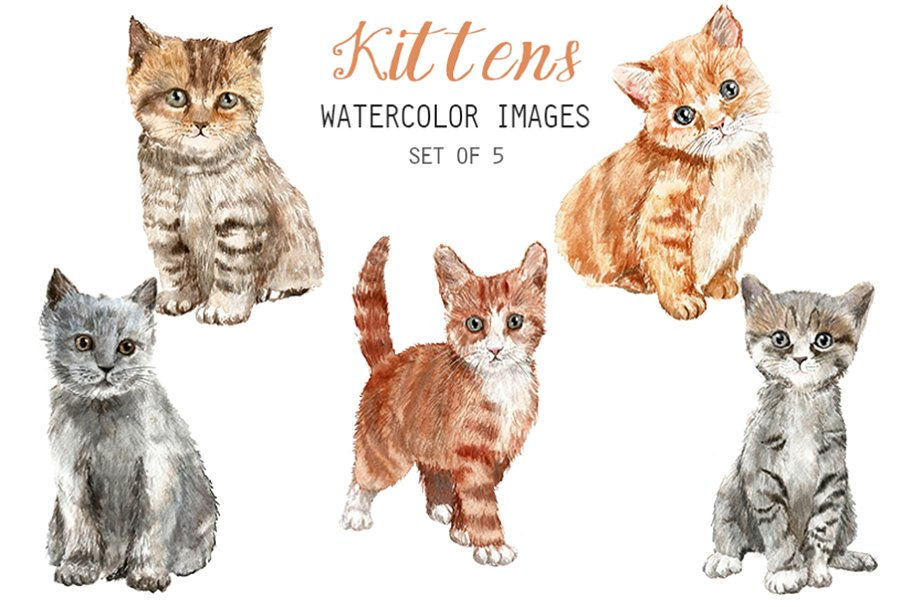 Watercolor Kittens Clipart.