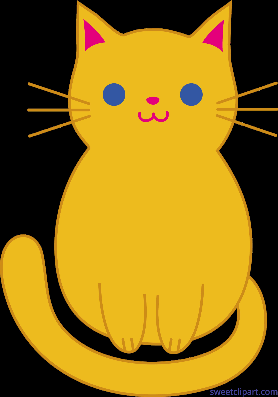 Cute Orange Kitty Cat Clip Art.