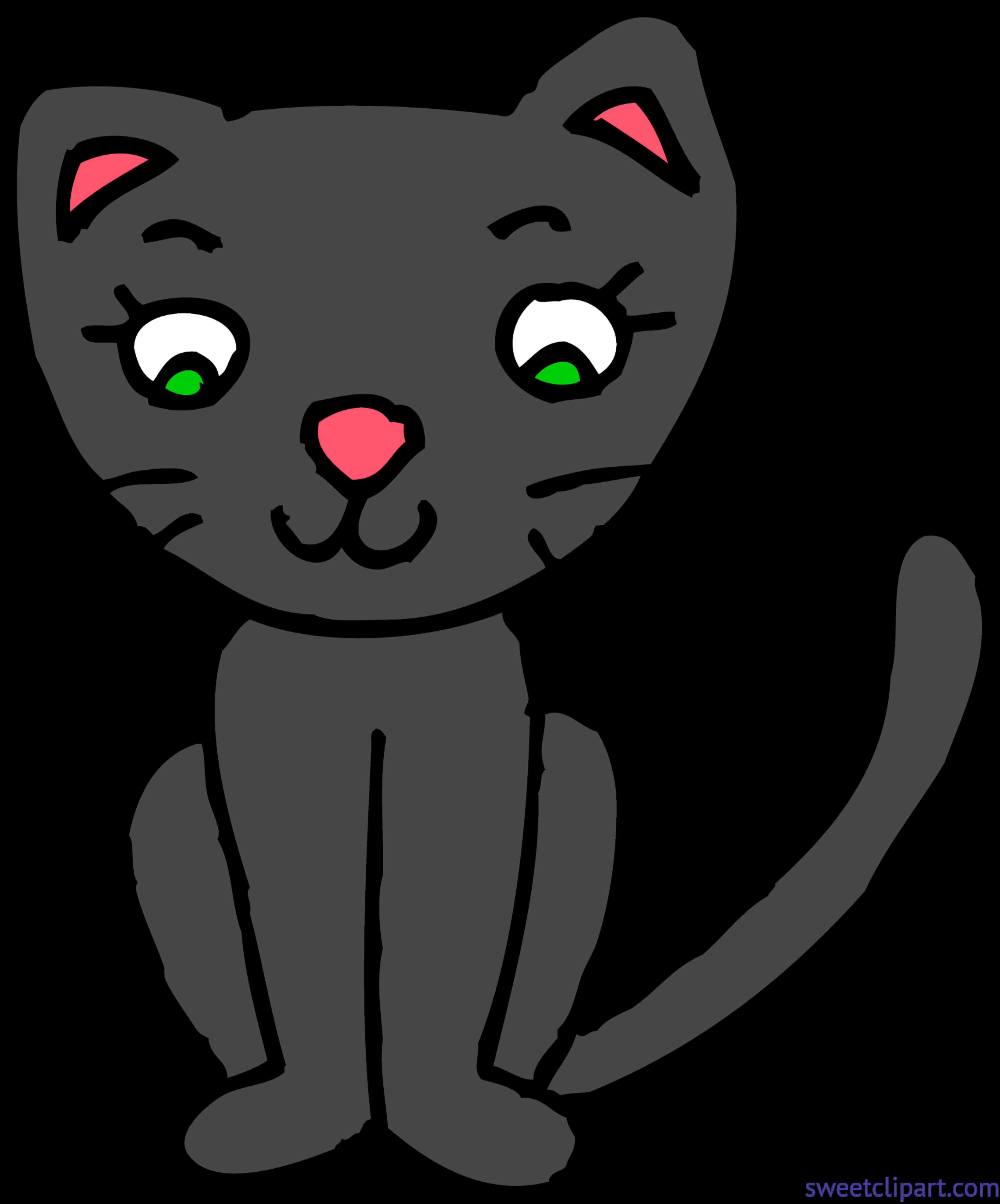Kitty Cat 3 Black Clip Art.