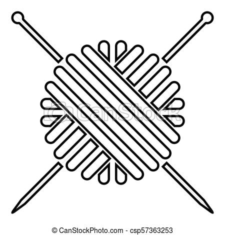 Ball of wool yarn and knitting needles icon black color illustration flat  style simple image.