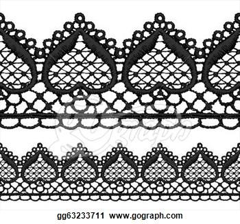 Black Lace Border Clip Art.