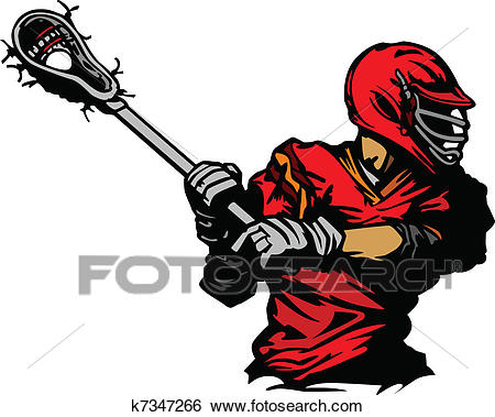 Lacrosse Player Cradling Ball Illus Clip Art.
