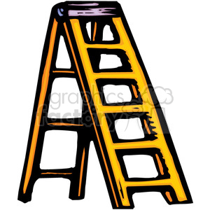 yellow ladder clipart. Royalty.