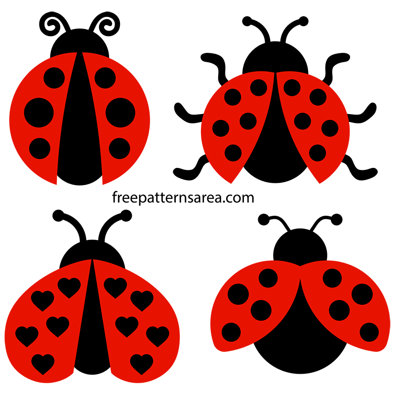 Printable Ladybug Clipart Vectors Free SVG Files.