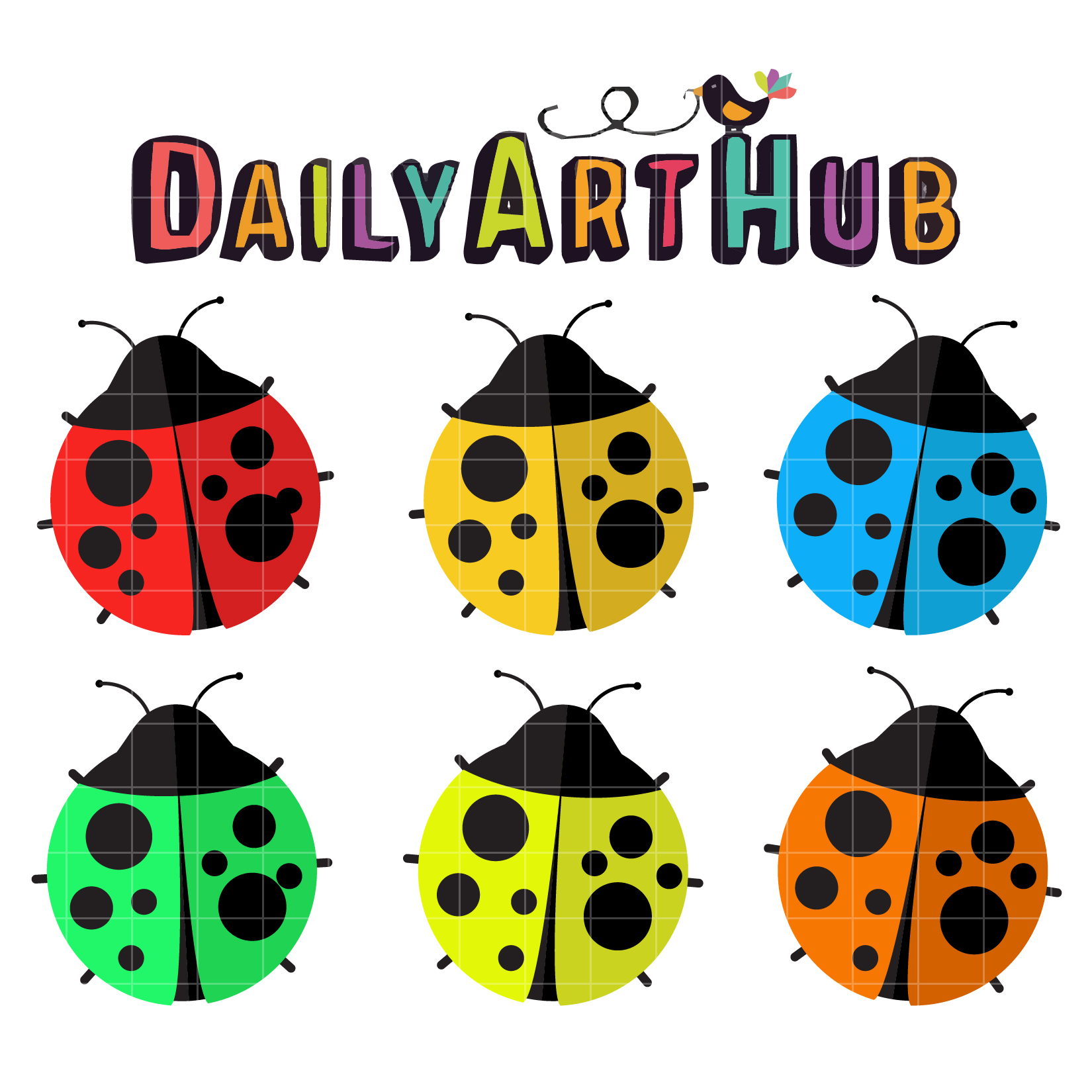 Colorful Lady Bugs Clip Art Set.