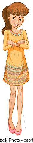 Vector Clip Art of A woman standing with a smile.
