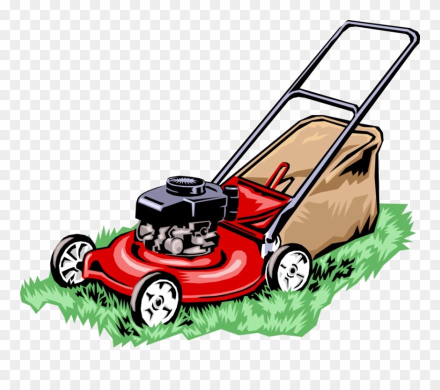 Vector Illustration Of Yard Work Lawn Mower Cuts Grass.