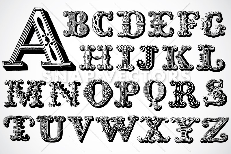 Vector Clipart Vintage Alphabet Letters.