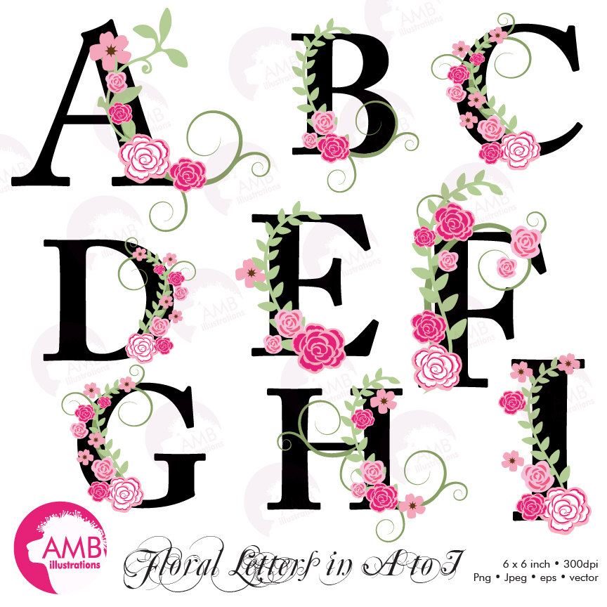 Floral Alphabet clipart, Letters A to I, Floral clipart, Wedding clipart,  AMB.