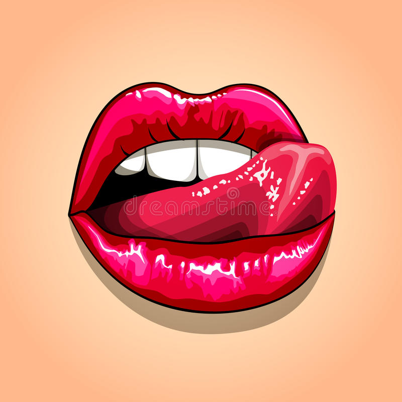 Licking Lips Stock Illustrations.