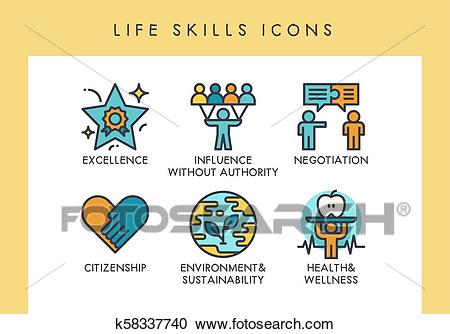 LIfe skills icons Clipart.