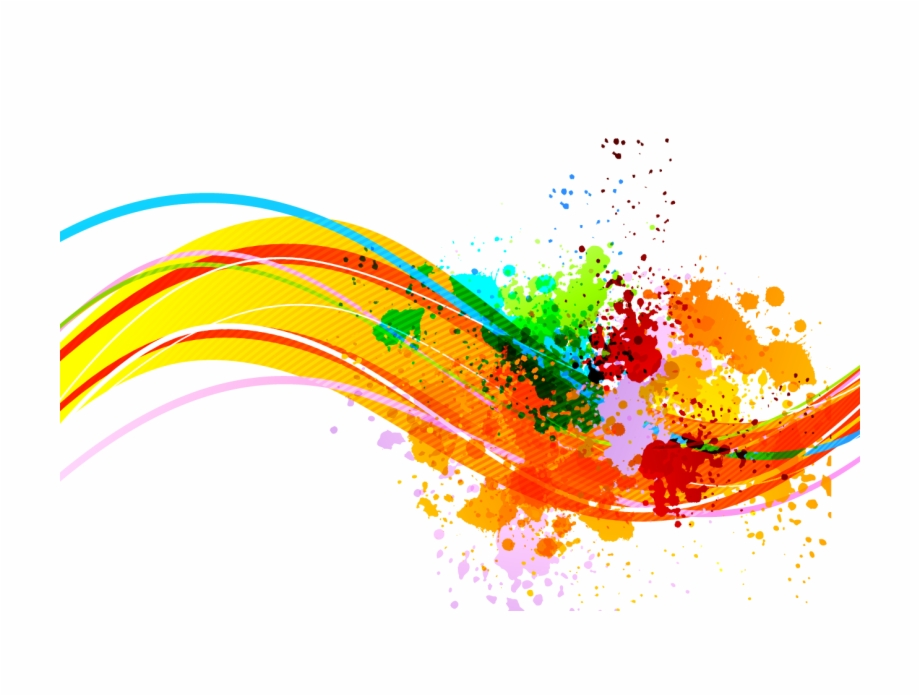 Color Lines Dynamic Watercolor Ink Painting Clipart.