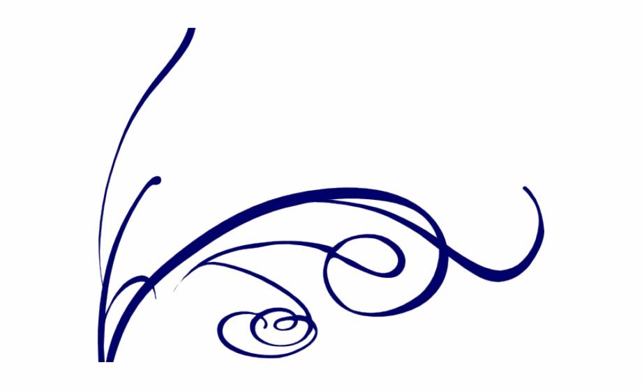 Decorative Line Blue Clipart Flower.