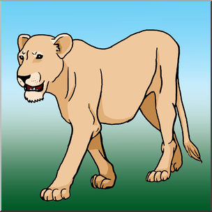 Clip Art: Big Cats: Lioness Color I abcteach.com.