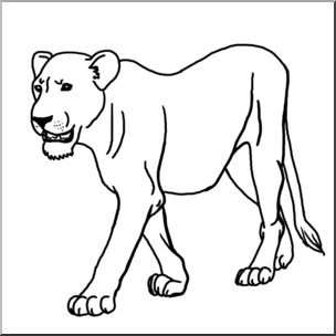 Clip Art: Big Cats: Lioness B&W I abcteach.com.