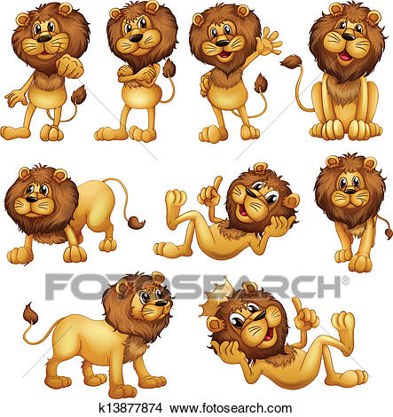 Lions in different positions Clipart.