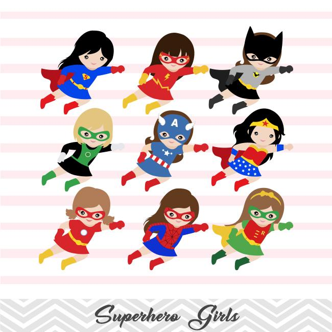 27 Superhero Girls Digital Clip Art, Avengers Clip Art.