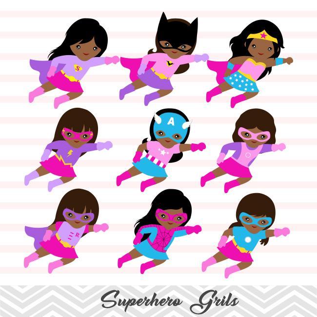 27 African American Superhero Girl Digital Clip Art, Avengers Clip.