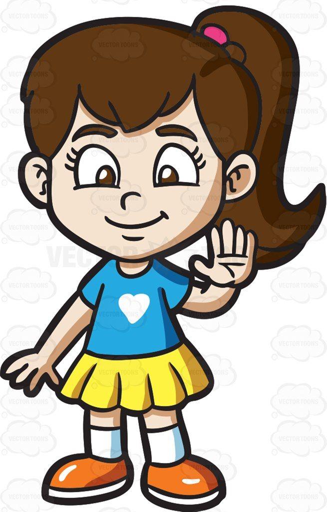 A friendly little girl #cartoon #clipart #vector #vectortoons.