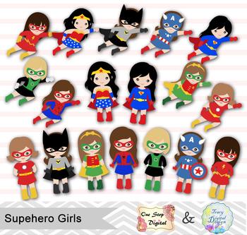 24 Superhero Girls Digital Clip Art, Little Girl Superhero Clipart, 00189.