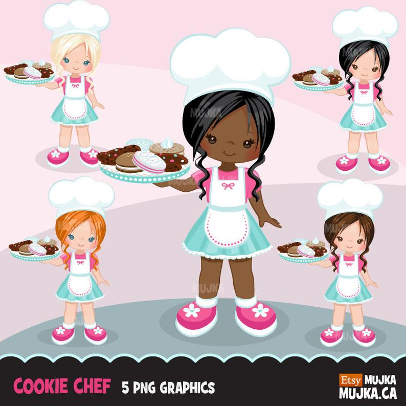 Baking clip art Cookie Pastry Chef Clipart. Little Girl.