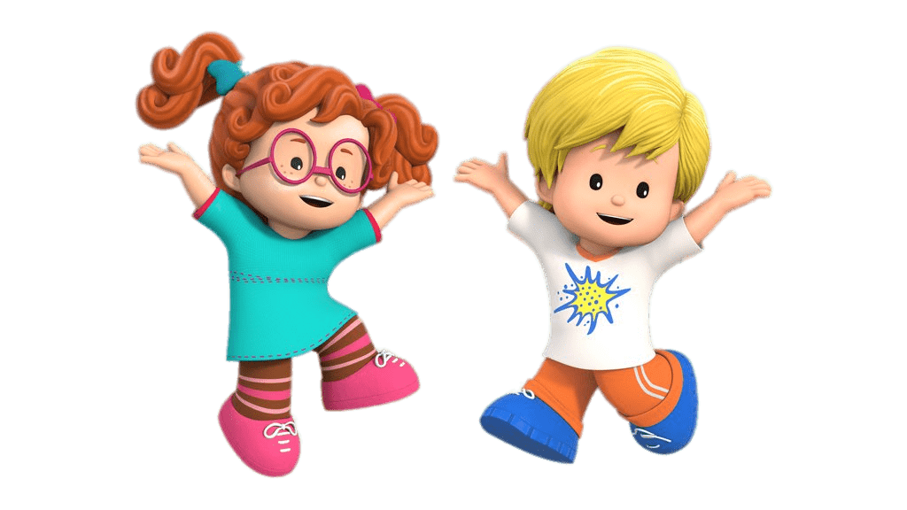 Little People Sofie and Eddie Jumping transparent PNG.
