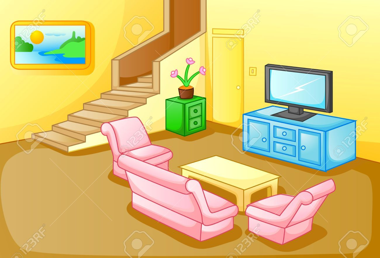 living room clipart house interior pencil and in color.