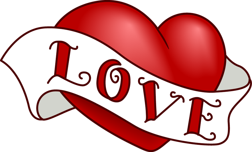 Vintage Heart Clip Art Design for Valentine's Day.