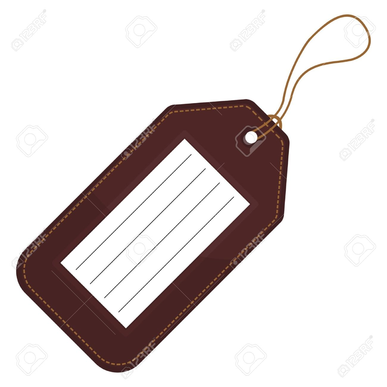 Luggage tag with copy space over white background.