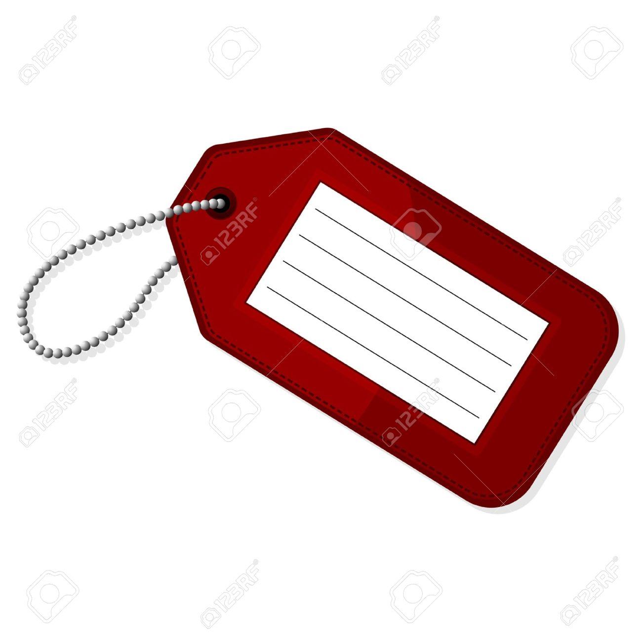 luggage tag: Red luggage tag.