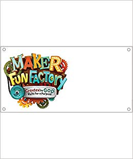 Maker Fun Factory LOGO Outdoor Banner (8ft.X 4ft.) (Group Easy VBS.