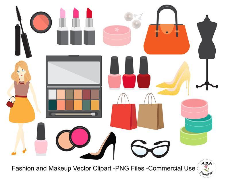 Fashion Clipart, Makeup clipart, Cosmetic vector clip art, Lipstick, Nail  polish, Maskara, Beauty clip art, Commercial Use.