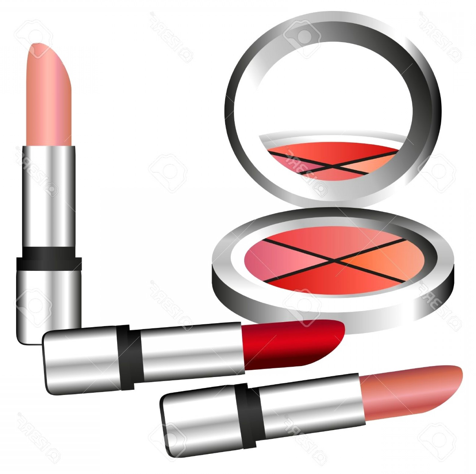 Makeup Clipart Make Up Set With Eyeshadow And Lipstick Stock Vector.
