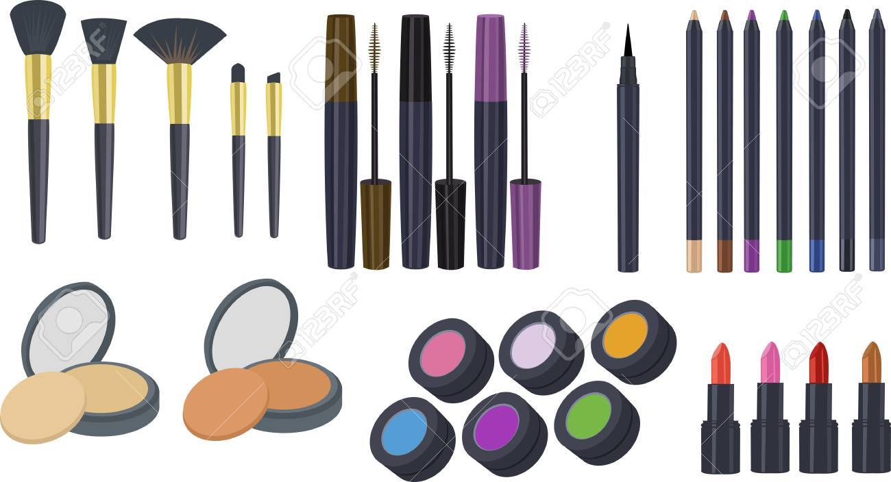 Cosmetics Clipart, Makeup Clipart, Clipart Set of Eyeshadow Brush,...