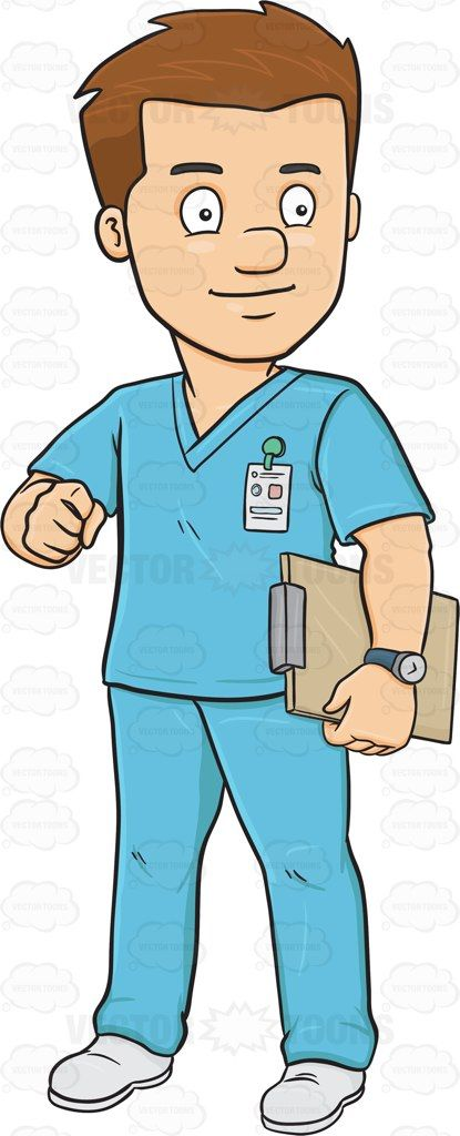 A Male Nurse In Scrubs Holding A Clipboard #adult #adultmale.