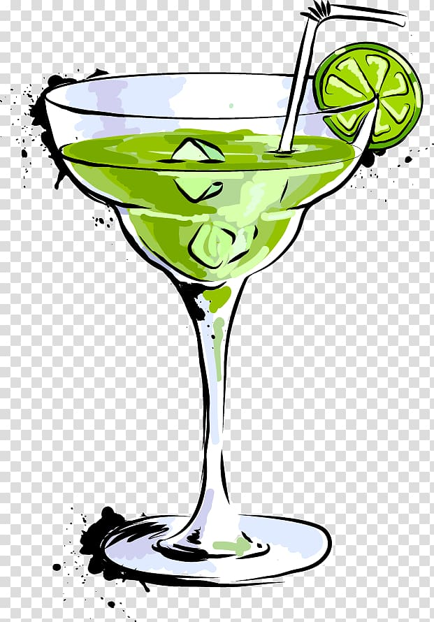 Margarita glass filled with green beverage and fruit slice, Cocktail.