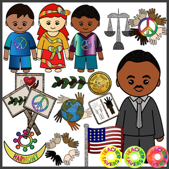 Martin Luther King Clip Art Set Commercial and Personal Use.