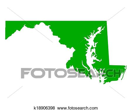 Map of Maryland Clip Art.