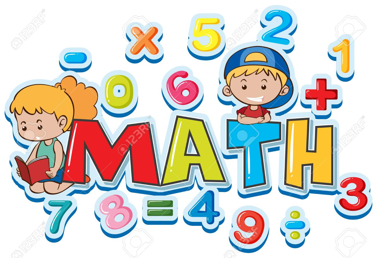 Font design for word math with many numbers and kids illustration.