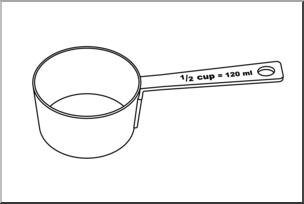 Clip Art: Measuring Cups: Half Cup B&W I abcteach.com.