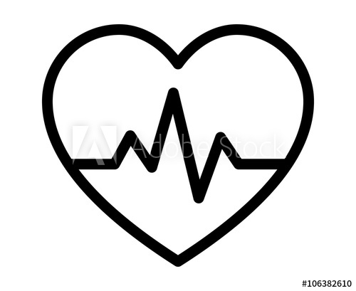 Heartbeat / heart beat pulse line art icon for medical apps and.