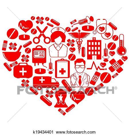 Medical heart symbol Clipart.