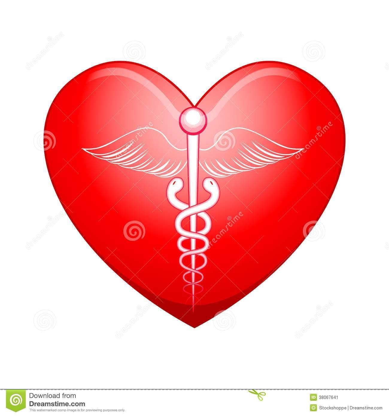 Medical symbol on Heart stock vector. Illustration of checkup.