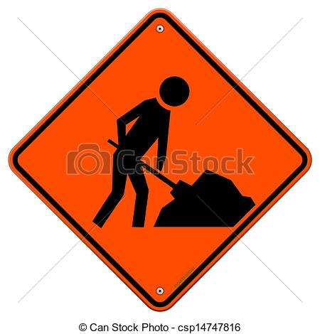 Vector Clip Art of Men at Work Sign.