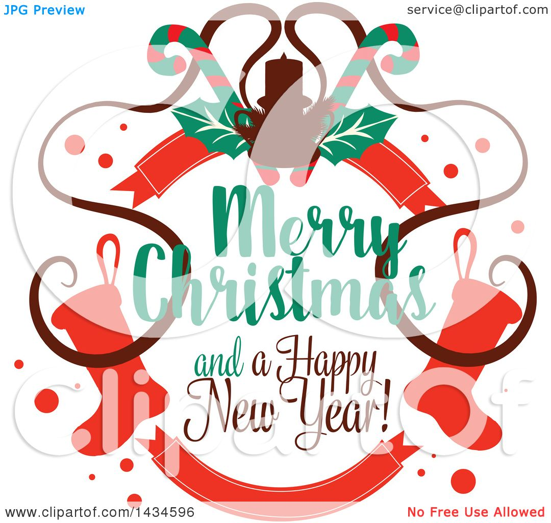 Clipart of a Merry Christmas and a Happy New Year Greeting.