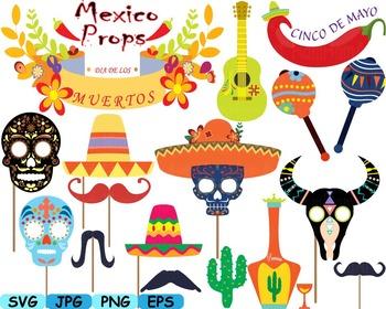 Mexico Props Fiesta Clipart Mexican birthday cinco de mayo SVG fiesta hats.