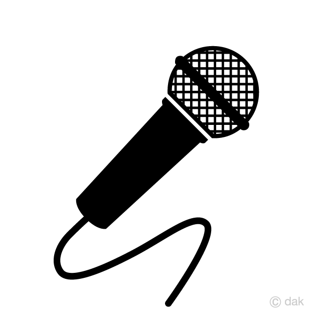 Black and White Microphone Clipart Free Picture|Illustoon.