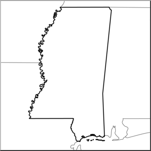 Clip Art: US State Maps: Mississippi B&W I abcteach.com.