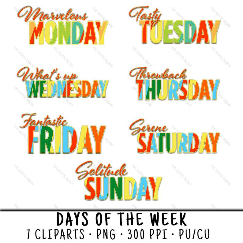 Monday Clipart, Monday Clip Art, Monday PNG, Weekday Clipart, Thursday  Clipart, Friday Clipart, Friday PNG, 7 Day Clipart, Day Of The Week.