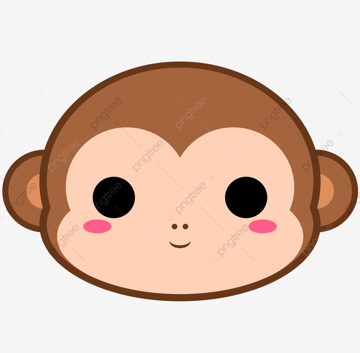 Cute Monkey Head, Monkey, Brown, Cute PNG Transparent Clipart Image.